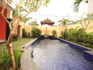 Private garden with outdoor swimming pool and two sun loungers