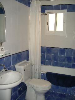 Main bathroom with bath with shower over, sink and toilet