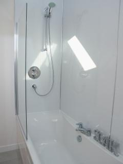 Upstairs bathroom  with bath/shower over