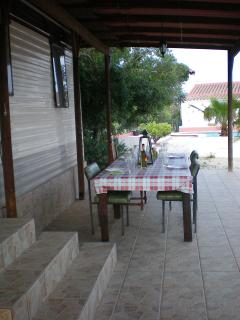 Enjoy meals with local wine&olive in the outside eating area with seating for 8.