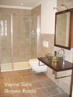 Vienne bathroom, overhead rain shower, large fluffy white towels and complimentary toiletries
