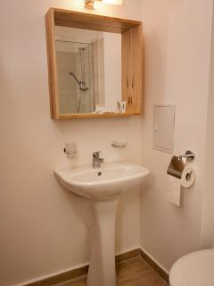 sink with mirror in the bathroom