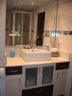 Baño equipado (lavadora, secador, toallas, jabón, papel WC...)