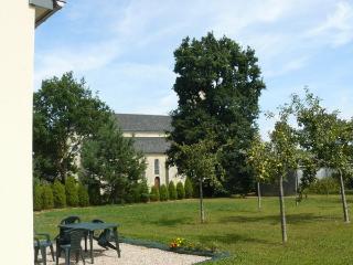 Patio garden and church