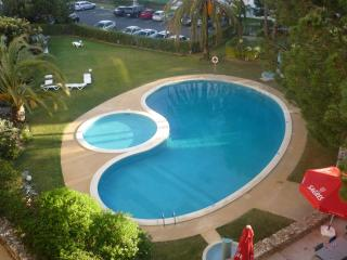 view of the pool from the second floor balcony