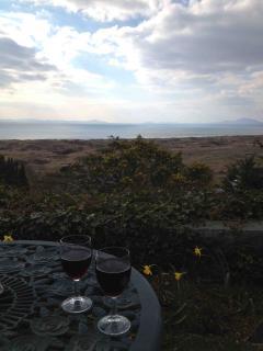 View from La Plas Restaurant terrace in Harlech