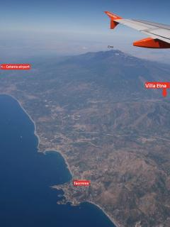location of Villa Etna, Mount Etna, Ocean/beaches