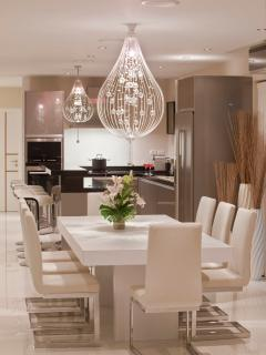 The ultra modern kitchen and dinning room.
