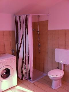 Second bathroom with shower, toilet and washing machine