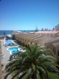 Jardín y piscinas zona común complejo. Vistas primera linea playa