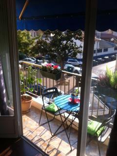 Sun terrace with an awning to avoid sunburn ...