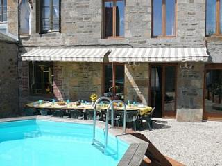 The sunny walled courtyard is great for alfresco dining (umbrella now replaces roll-out canopy)