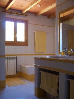 the big bathroom with shower and bathtub