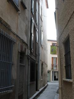 Rue des Remparts.  House is middle on left.