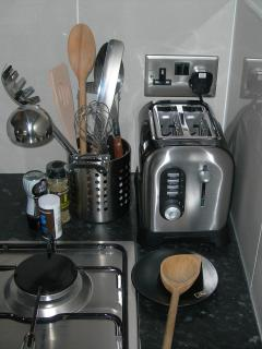 There are a dishwasher, electric oven, gas hob, fridge and microwave.