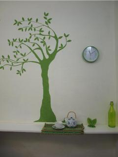 I want to drink my cup of tea under a big green tree