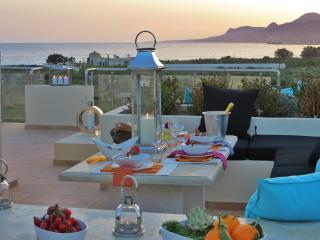 Dining at sundown on the roof garden