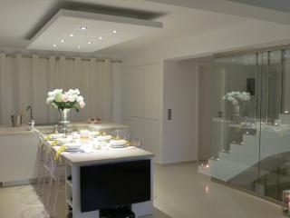 Contemporary interior by candlelight