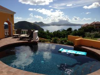 Pool and Terrace with million dollar views over the Caribbean Ocean and Nevis beyond.