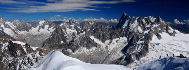 view of alps and adventurous ice climbers!