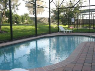 oversize pool with large sun deck,plenty of sun beds.