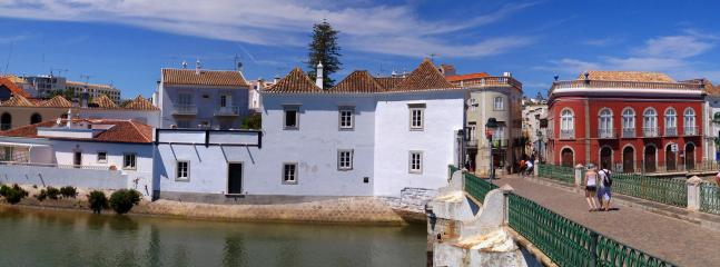 View of the house from the bridge. Note the large terrace on the left.