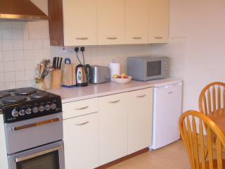Fridge, Microwave, Cooker (hob, grill, oven)