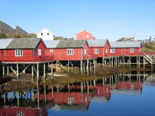 Log cabin in the fishing village Tind at Lofoten