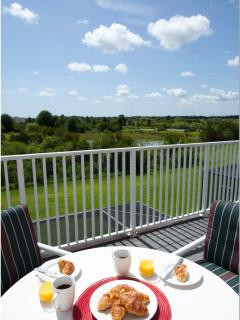 What a great start to the day: breakfast on the master bedroom balcony with THAT view
