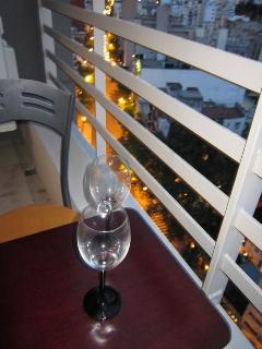 Having a drink in the balcony