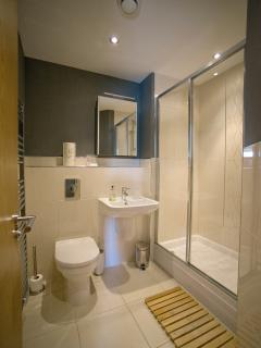ensuite shower room off bedroom 1 in Whitby Pad apartment