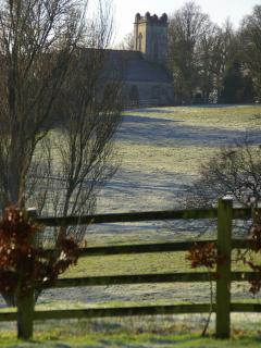 View across the fields to Pitchcombe church
