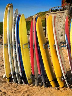 Surfboards for hire on Fistral Beach