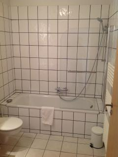 Bathroom has bath/shower