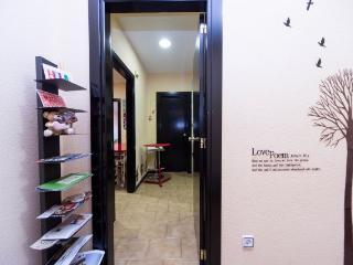 Entrada al apartamento. Cuenta con un mostrador de guías y folletos de Madrid.
