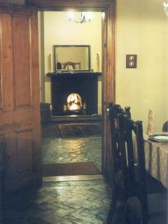 Fireplace (lit) from Entrance room