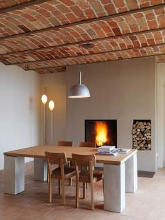 Dinning Area with Fireplace