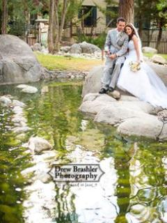 wedding photography or vows in front of waterfall