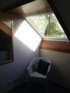 Large sky light in upstairs bedroom