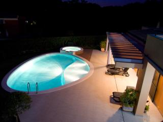 Pool shot from the balcony at night