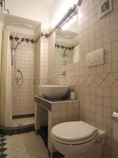 Bathroom with shower & washing machine.