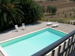 A view of the pool from the balcony