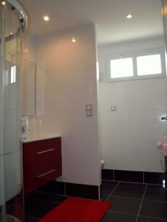 Salle de bains à l'étage : Douche, Lavabo, WC