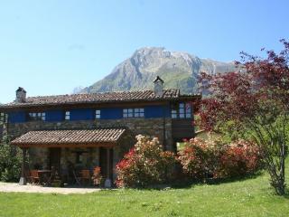 Fachada casas de madera y piedra con porche y mobiliario de jardín. Valle de Bueida