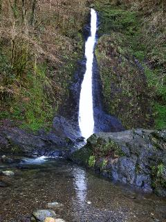 Whitelady Waterfall at the bottom of the garden in National Trust's Lydford Gorge