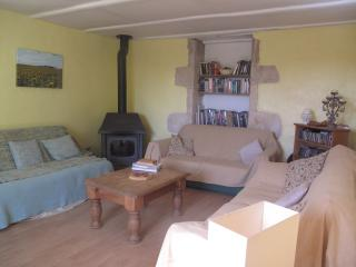 Two large sofas and one comfy sofa bed, large wood burner.
