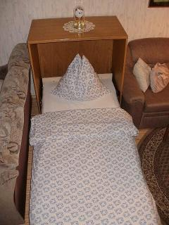 In an open position, this hide-a-bed offers a comfortable place to rest