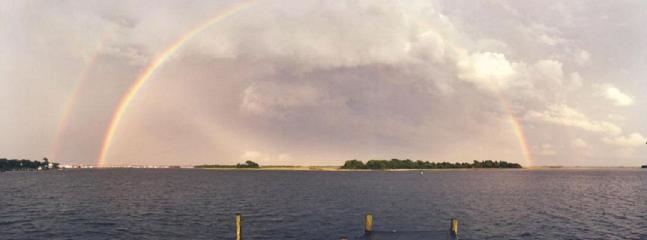 double rainbow over dock