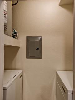 The condo comes with a full size washer and dryer. So you can go home with clean clothes. :)