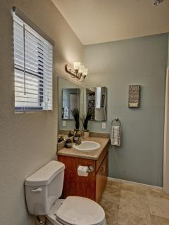 Master bathroom with granite counter tops fully equipped and comes with a blow dryer